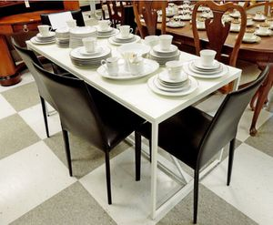 "Photo FREE DELIVERY! - White Lacquer Table 60"" L 28"" w 30"" h Metal Frame, Wood Top ($1800 new) Has a scratch on top. EQ3 BLACK LEATHER CHAIRS (SET OF 4)"
