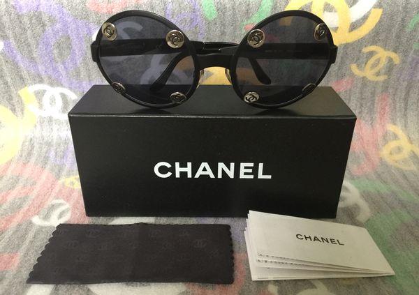 40571ab67d94 Authentic Vintage 90 s CHANEL Black Sunglasses Large Round W Silver CC  Design