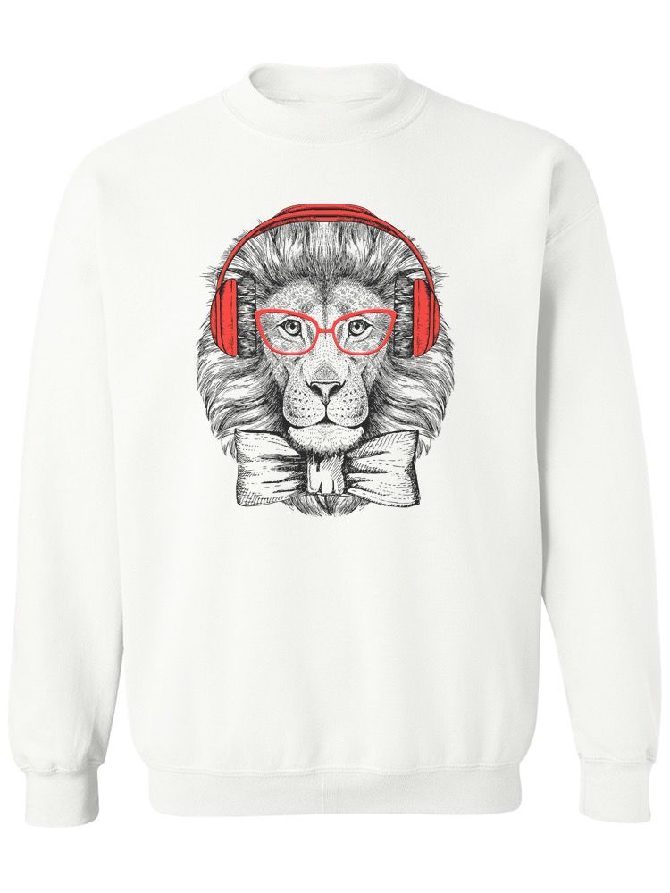 Smartprints Hipster Lion With Glasses. Sweatshirt Women's -Image by Shutterstock White Size 5XL