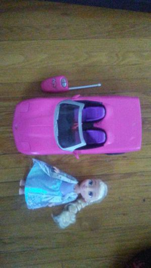 Remote control Barbie Corvette and froze doll for Sale in St. Louis, MO