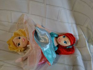 Photo Ariel mermaid and sleeping beauty reversible Disney theme park world doll plush toy rare