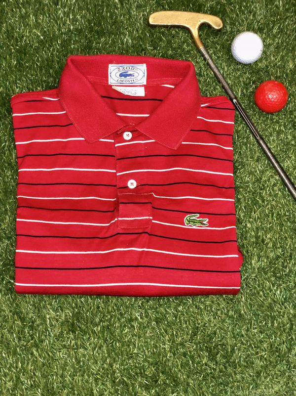 3e11f07bf Vintage IZOD Lacoste stipe polo style RED for Sale in DuPont