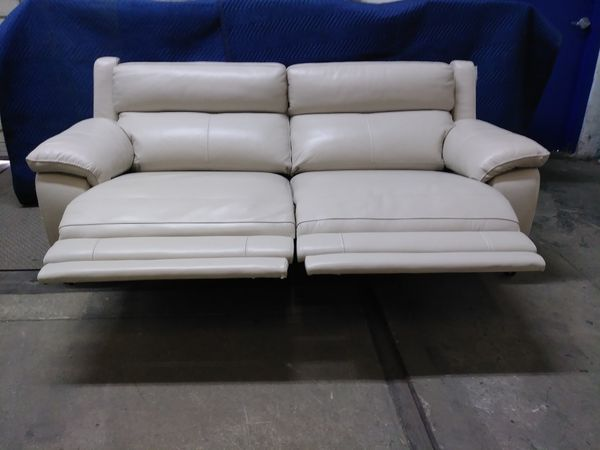 Phenomenal Macys Motorized Sofa In Cream Leather Super Clean For Gmtry Best Dining Table And Chair Ideas Images Gmtryco
