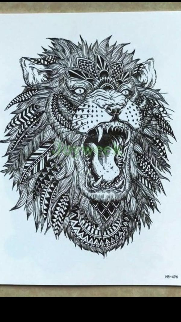 Africa Serengeti Lion Temporary Tattoo Indian Tribal Mighty Lion