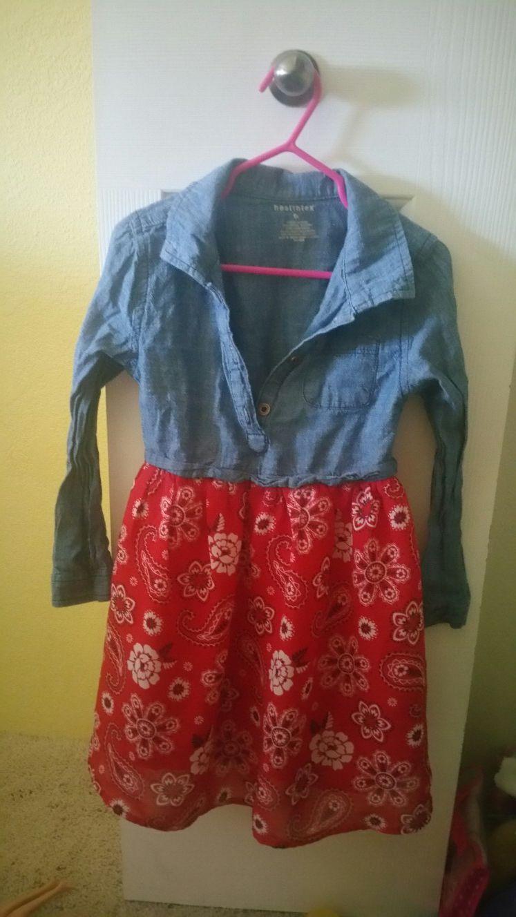 5t girls red Jean dress top