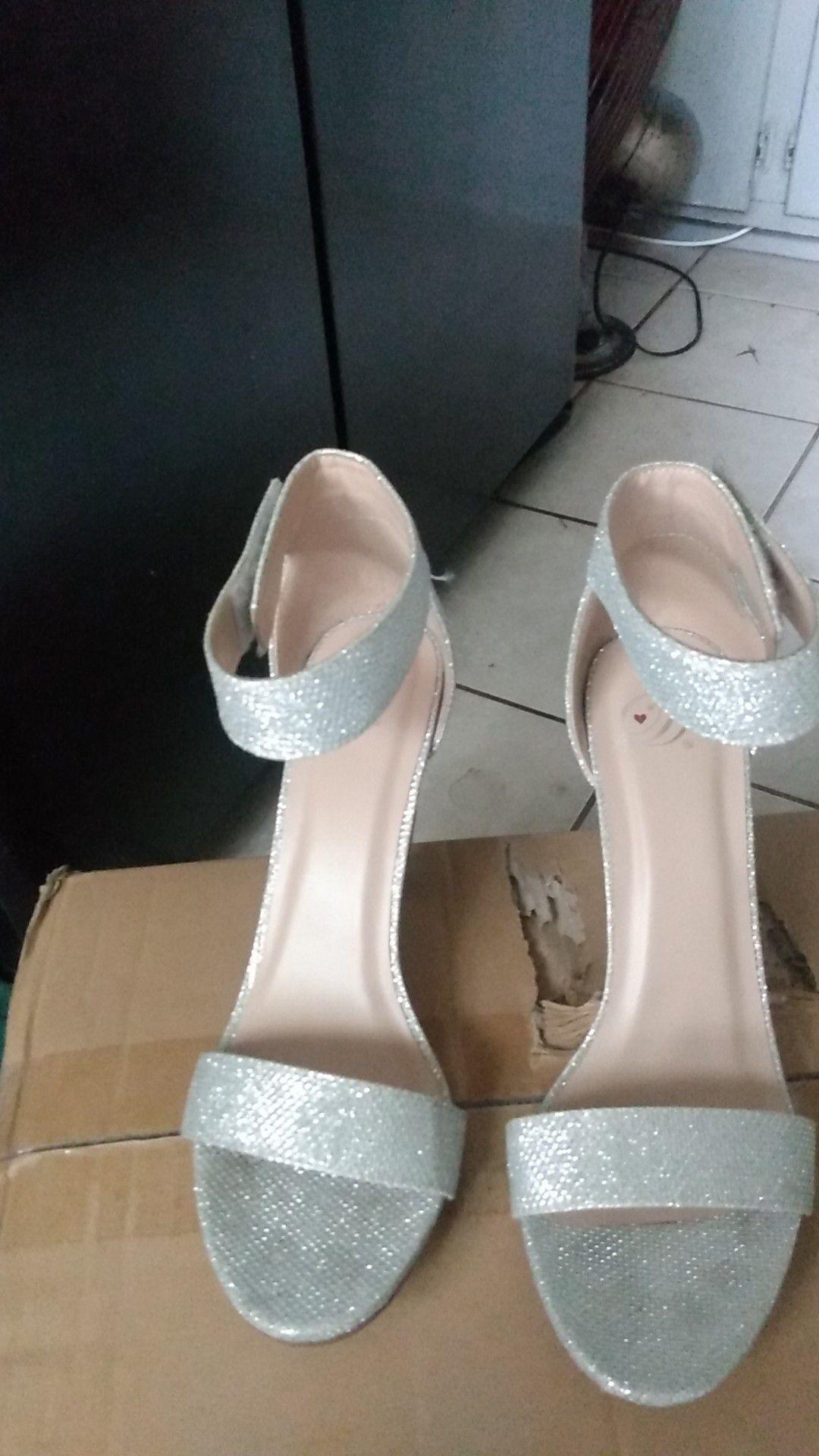 Silver high heels
