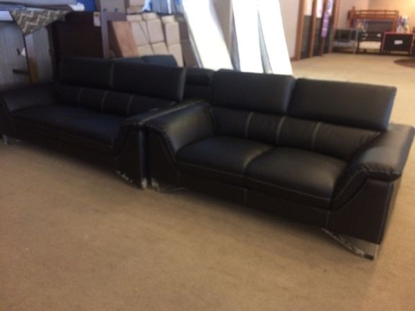 Black leather sofa set with adjustable head rest for Sale in Phoenix, AZ -  OfferUp