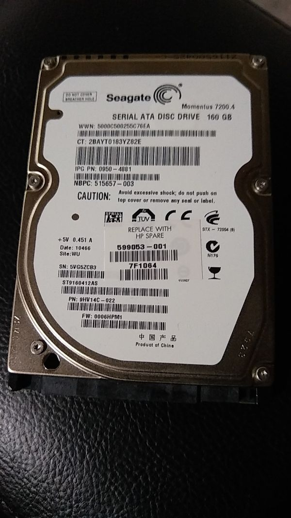 Seagate 160gb Laptop Hard Drive 7200 Rpm For Sale In Fremont CA