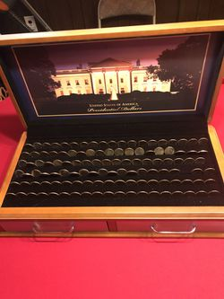 Presidential dollars valued at $2.95 each in today's market. All in a professional case and in touches by human hands. Shipped from the mint to me. Thumbnail