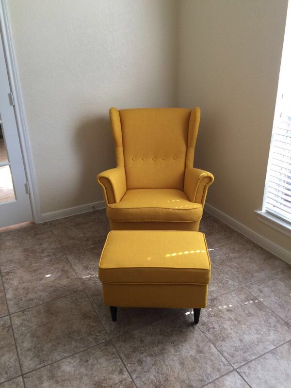 Ikea Strandmon Wing Chair Skiftebo Yellow Ottoman For Sale In