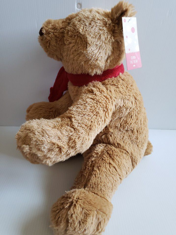 """Quinn The Bear Teddy Bear Quinn Brown Plush Bear With Scarf. Condition is Used With Tags 20"""""""