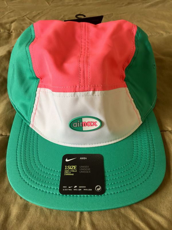 41a1ea742c808 Nike Air Max Aerobill AW84 5-Panel Strapback Hat Cap Green White Pink NEW  NWT
