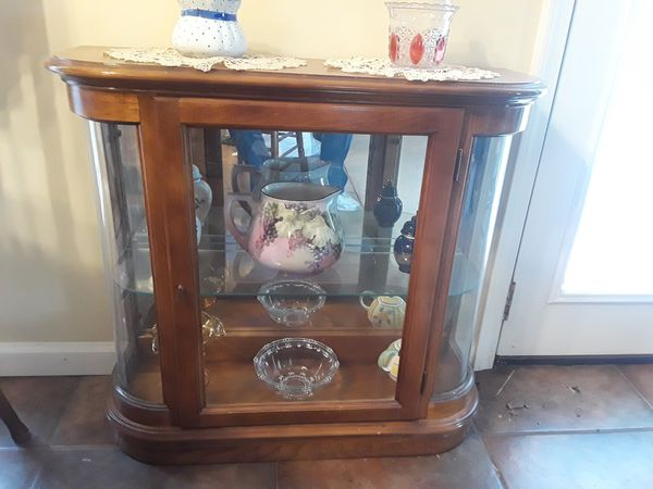 Antique Curio Cabinet With Curved Glass.Curved Glass Antique Curio Cabinet For Sale In Memphis Tn