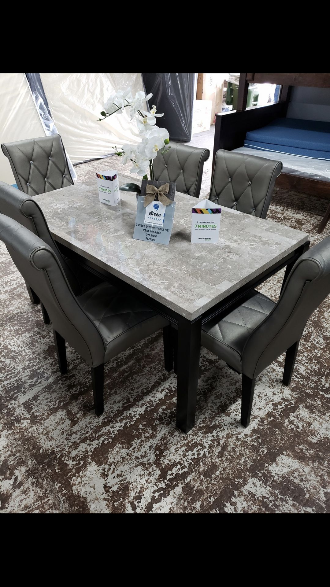 7 piece dining table real marble top on sale $630