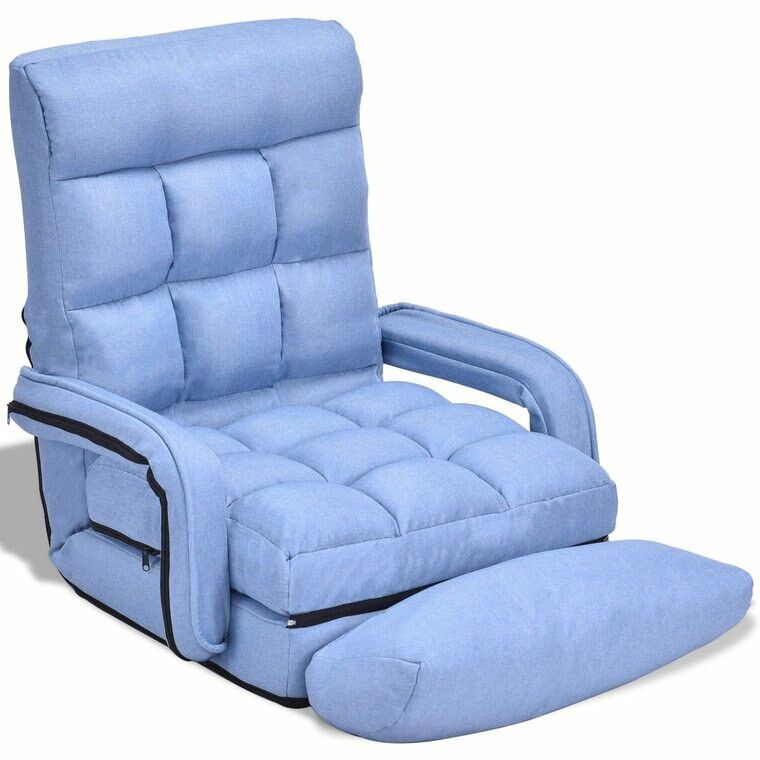 Folding Lazy Floor Chair Sofa With Armrests And Pillow-Blue