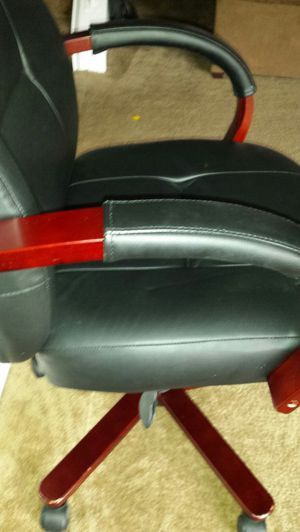 Leather and Red Wood Office Chairs for Sale in Fairfax, VA