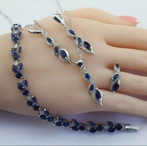 Photo (Shipped Only) Red Green Blue Crystal Silver Color Jewelry Sets