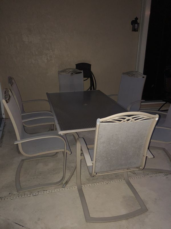 Patio Table And 6 Chairs Glass Top With Mesh Seats For