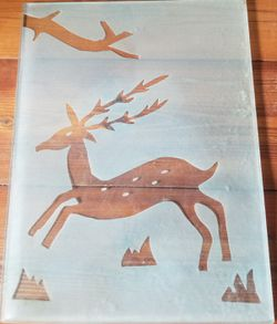 Reindeer deer frosted glass heavy duty nice Thumbnail