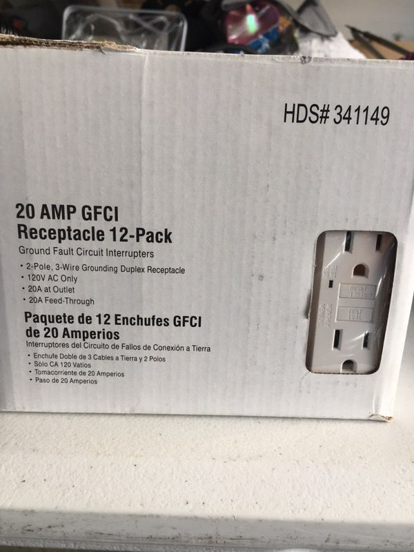 12 pack of 20 amp GFI GFCI WHITE RECEPTACLES - CONTRACTOR PACK for ...