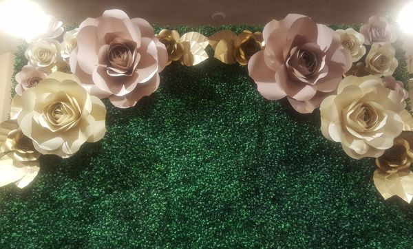 Paper Flower Artificial Green Hedge Boxwood Wall Backdrop For Sale