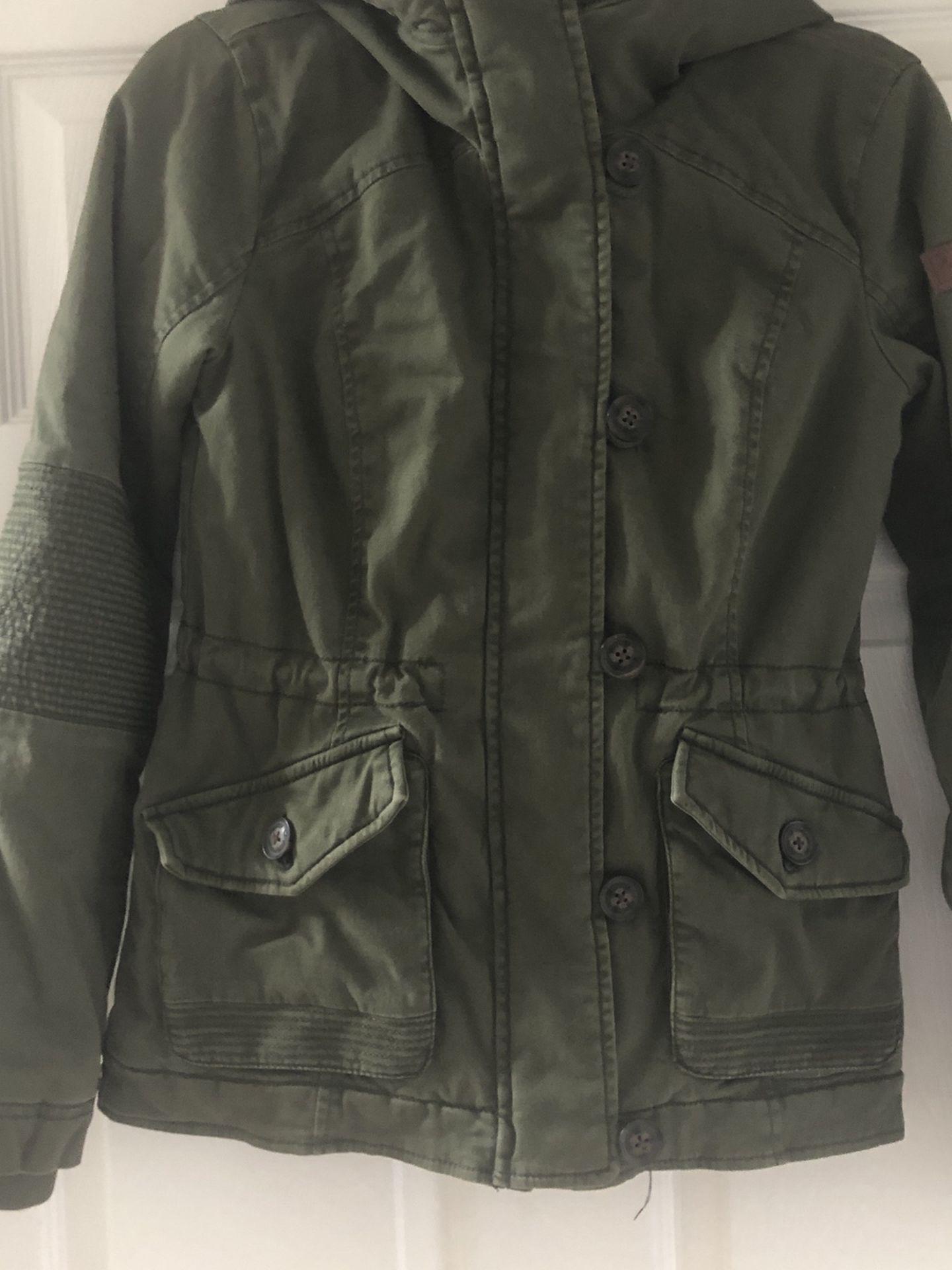 Hollister coat Xs Green+fur Trim Women XS