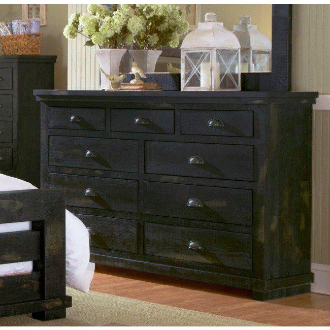 Progressive P612-23 Willow Distressed Black Drawer Dresser