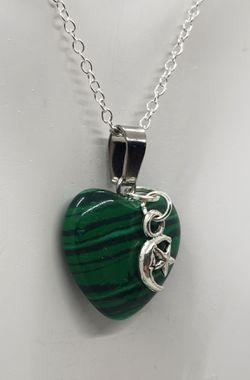 Malachite Moon/Star Heart Necklace Thumbnail