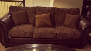 Brown leather and fabric sofa and loveseat for Sale in Frederick, MD
