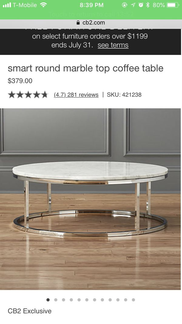 CB Smart Round Marble Top Table For Sale In Queens NY OfferUp - Cb2 smart round coffee table