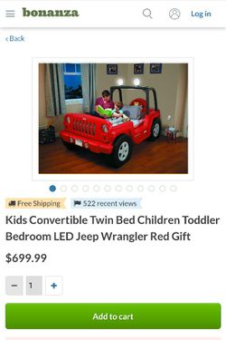 Red Jeep Children's Bed Thumbnail