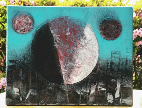 Hand Painted Abstract Cityscape and Planet Canvas Art for ...