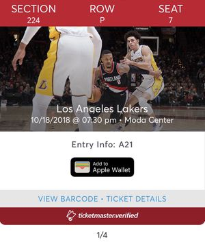 200 section Blazers vs Lakers tomorrow 10/18 for Sale in Vancouver, WA