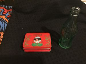 Antique coco-cola bottle made locally plus box for playing cards for Sale in Sterling, VA