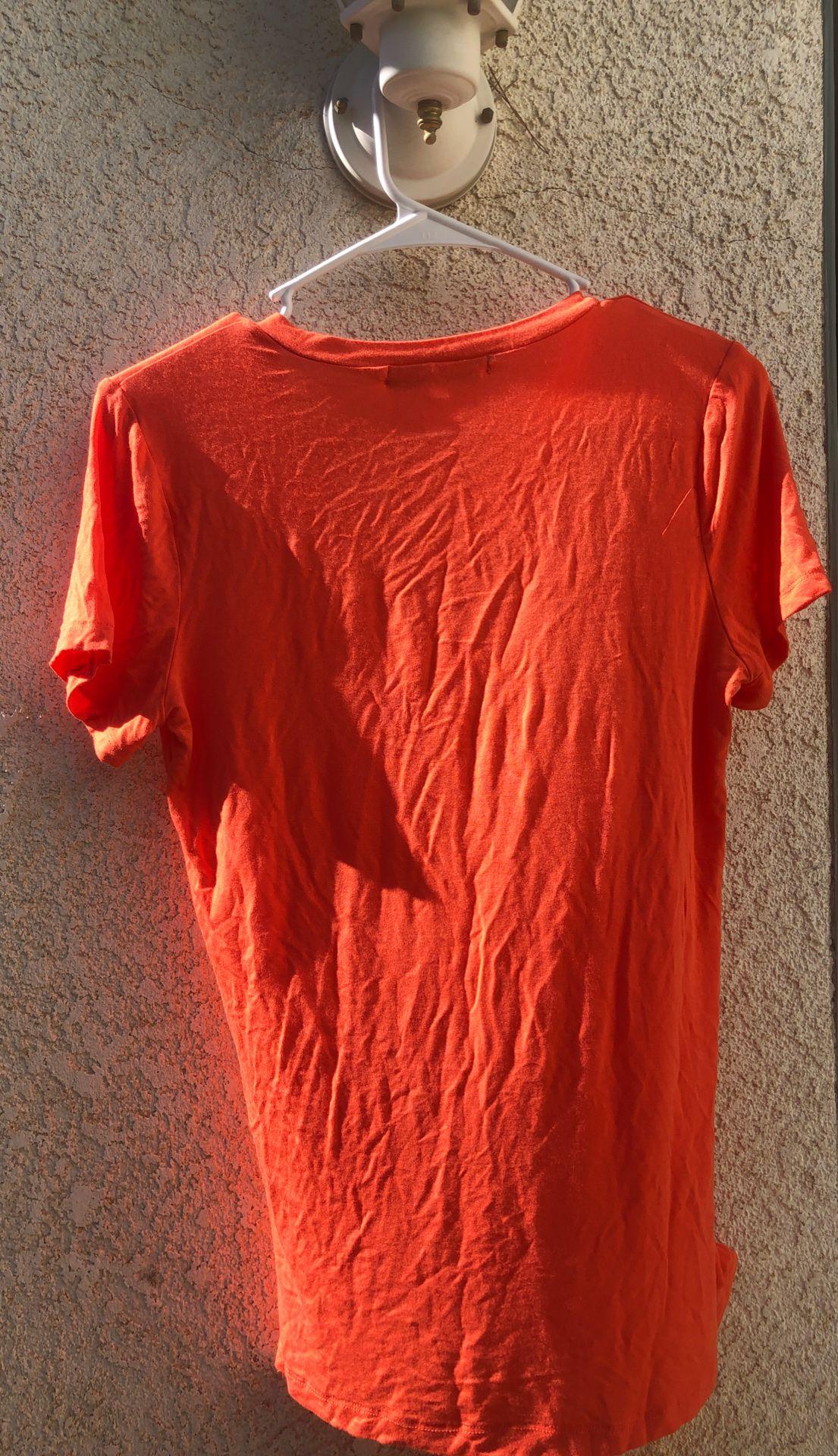 Women's small orange V-neck top