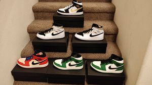 747b2b413792 Nike Air Jordan 1 Mid Pine Green Orange Silver Gold for Sale in Anaheim