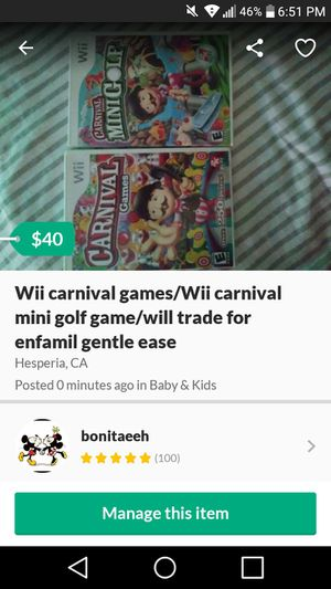 Photo Wii carnival games/Wii carnival mini golf game/will trade for enfamil gentle ease