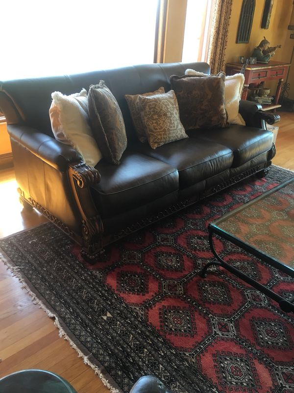 Leather Sofa with hand carved wood frame for Sale in San Diego, CA - OfferUp