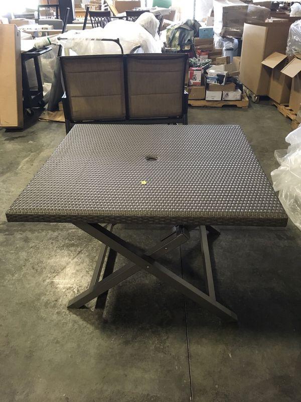 Brand New Barrington 42 Folding Wicker Grey Patio Table