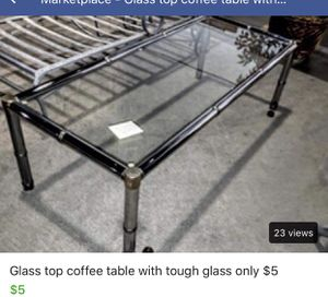 Glass top coffee table only $5 for Sale in Louisa, VA