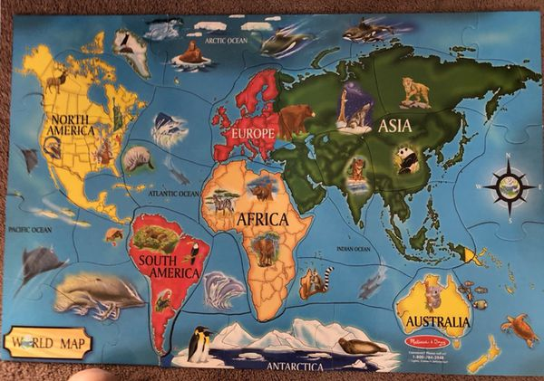 melissa doug jumbo floor puzzle world map continents baby kids in milpitas ca offerup