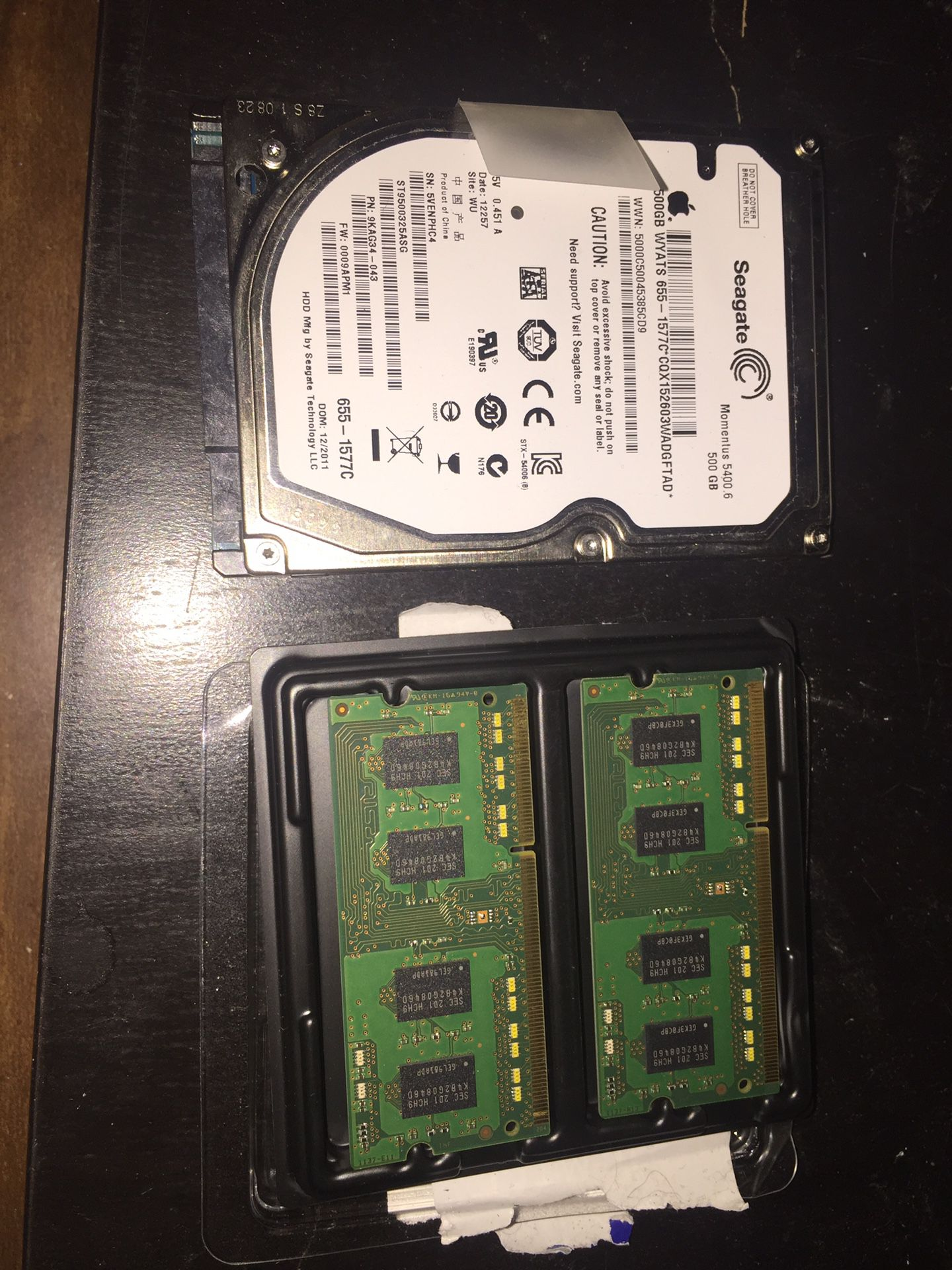 500 gb hard drive and 4gb ram from 2011 MacBook Pro