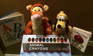 Original Disney Characters plus plastic Animal crayons a 2 ABC books for kids development for Sale in Miami, FL