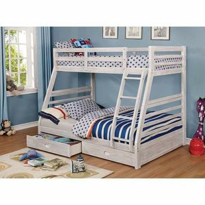 Photo WHITE WIRED BRUSHED TWIN OVER FULL SIZE BUNK BED DRAWERS