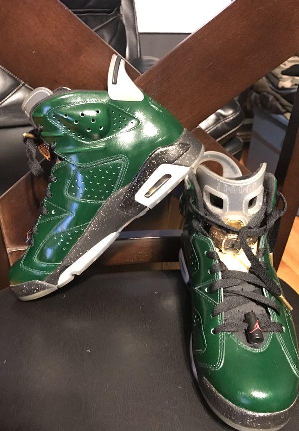 separation shoes 28e9a 58b58 Air Jordan 6 Retro Champagne Green  Gold 7.5