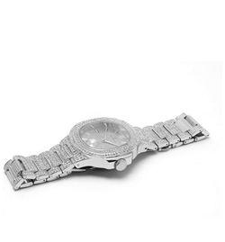 Bling-ed Out Oblong Case Metal Mens Watch w/Matching Bracelet Gift Set - 8475B - Silver Thumbnail