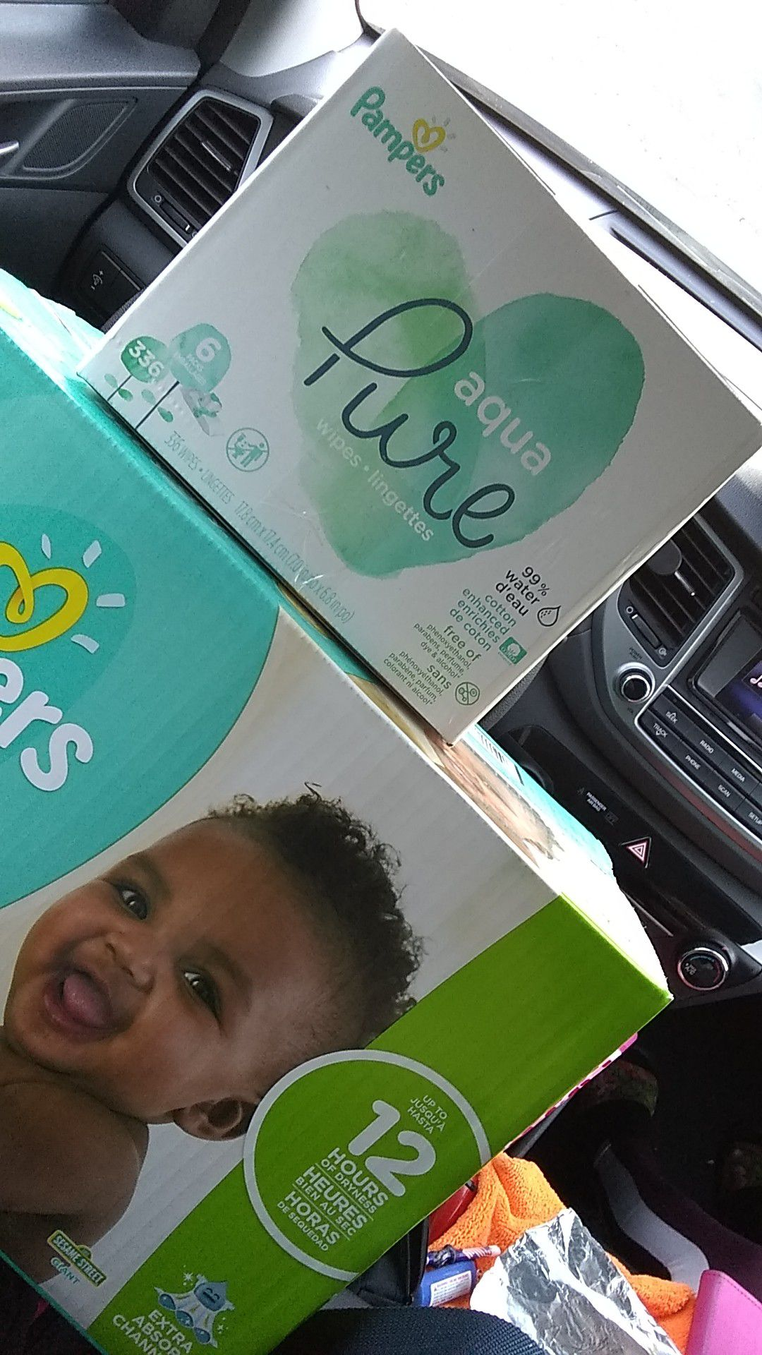 Size 3 pampers (144 diapers) and pampers aqua Pure baby wipes (6packs)