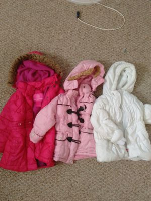 Girls winter jackets size 3T(white), 4(light and dark pink) for Sale in Rolla, MO