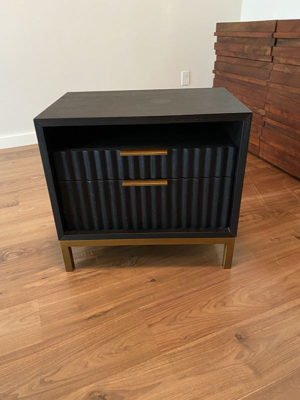 Rh Restoration Hardware Black Amp Brass Nightstand For Sale