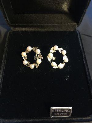 Sterling silver pearl earrings. Pick up near Rockville MD for Sale in Rockville, MD